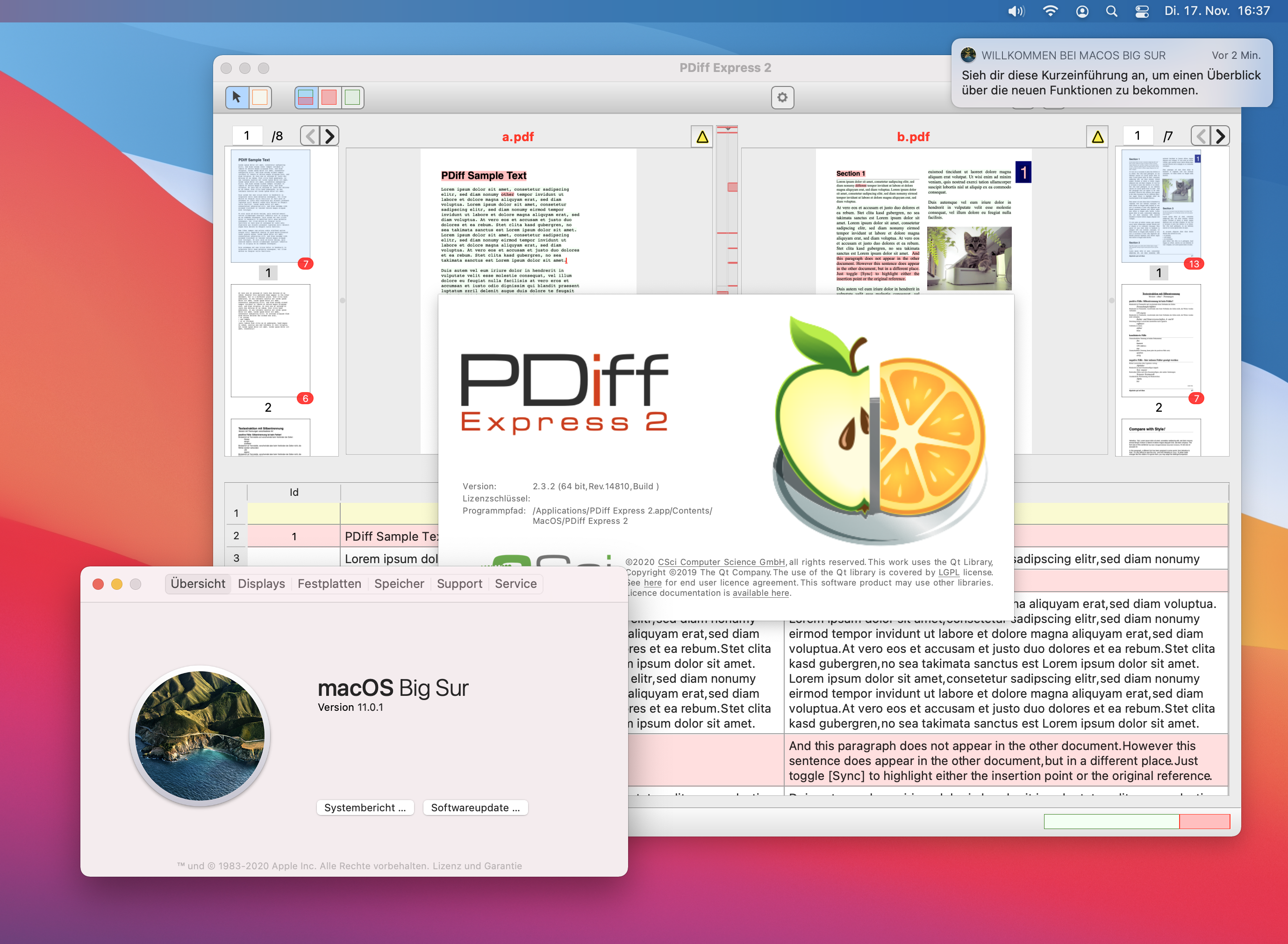 Compare PDF with PDiff Express under macOS 11 Big Sur