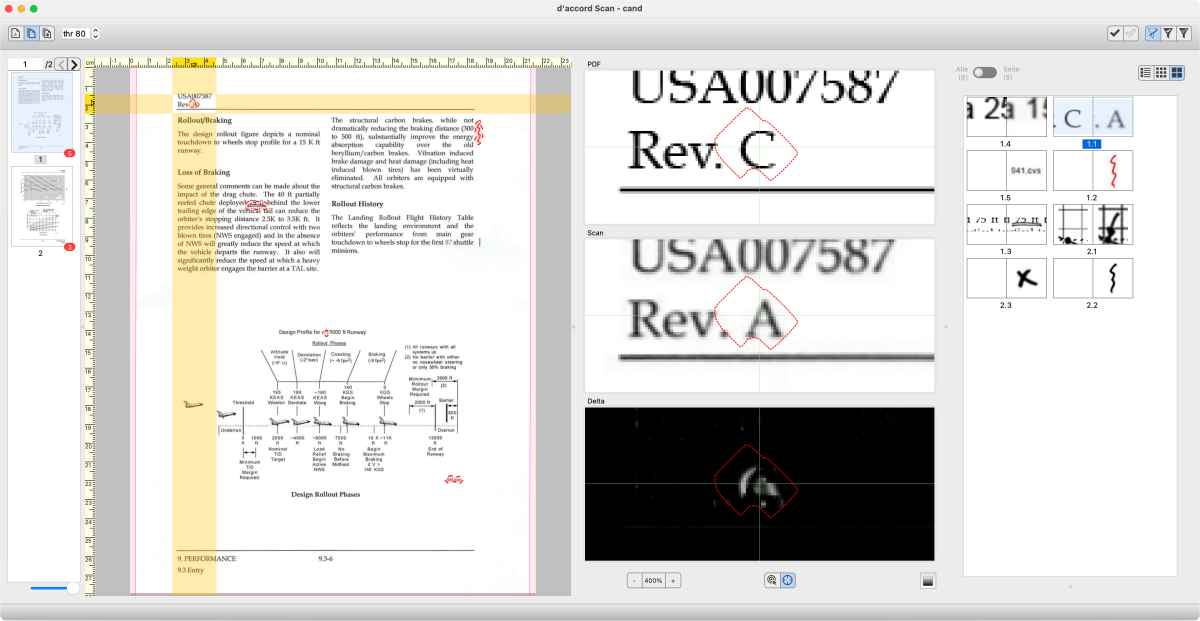 Comparison of PDF to Scan with d'accord Scan using the example of a technical manual