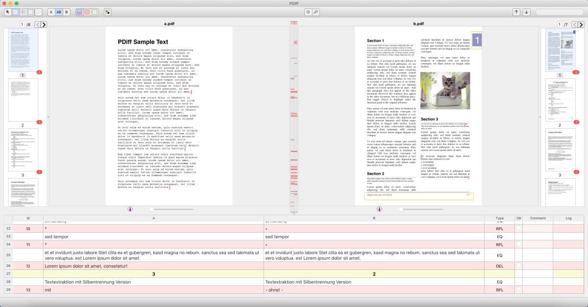 With exclusion areas: Footers and margins on all pages in PDF B excluded from comparison.