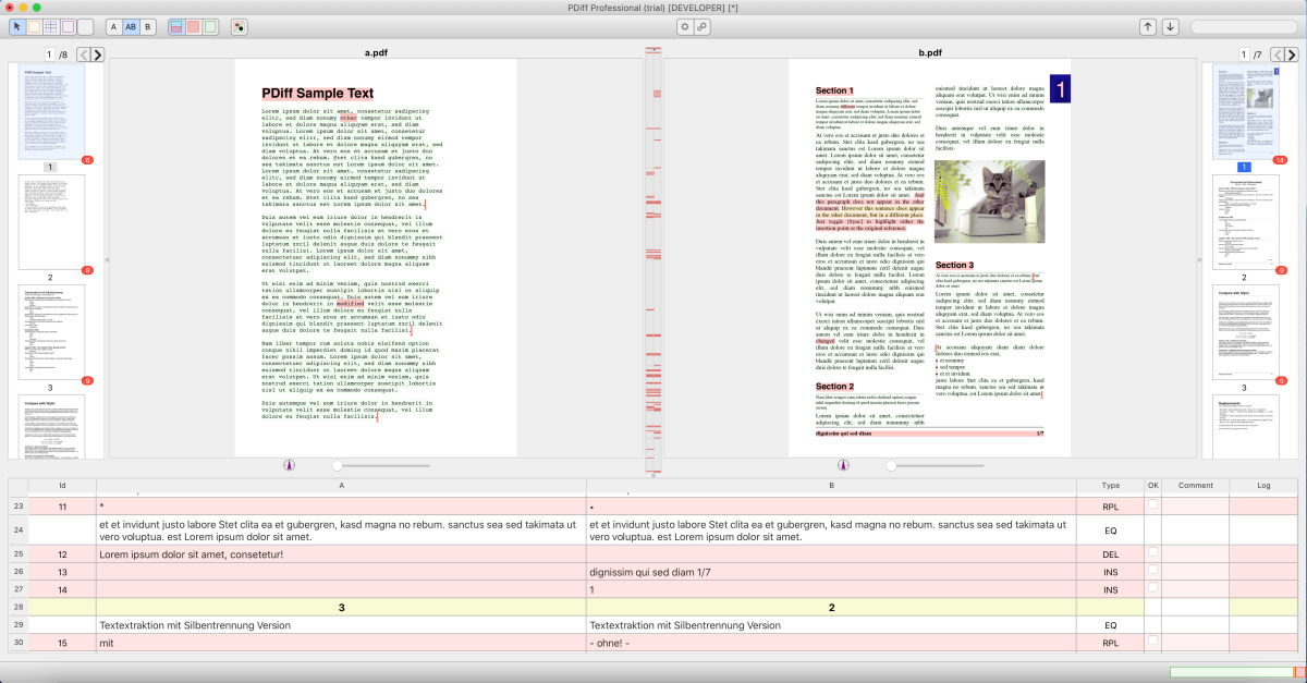 Without exclusion areas: Differences on each page due to the footer and margin notes in PDF B.